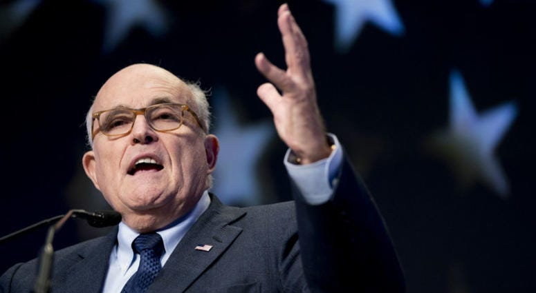 In this May 5, 2018, file photo, Rudy Giuliani, an attorney for President Donald Trump, speaks at the Iran Freedom Convention for Human Rights and democracy in Washington.