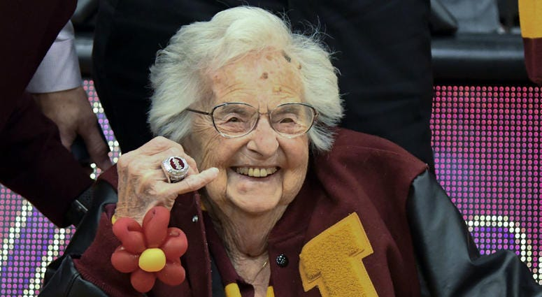 In this Nov. 27, 2018, file photo, Loyola of Chicago's Sister Jean shows off the NCAA Final Four ring she received before an NCAA college basketball game between Loyola of Chicago and Nevada in Chicago.