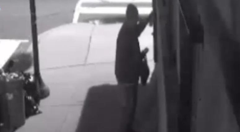 Police have released video of a suspect wanted for spray-painting the side of rapper Meek Mill's grandmother's home in Graduate Hospital.