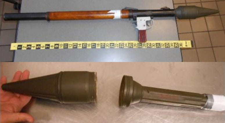 The Transportation Security Administration seized a military rocket-propelled grenade launcher at Lehigh Valley International Airport.