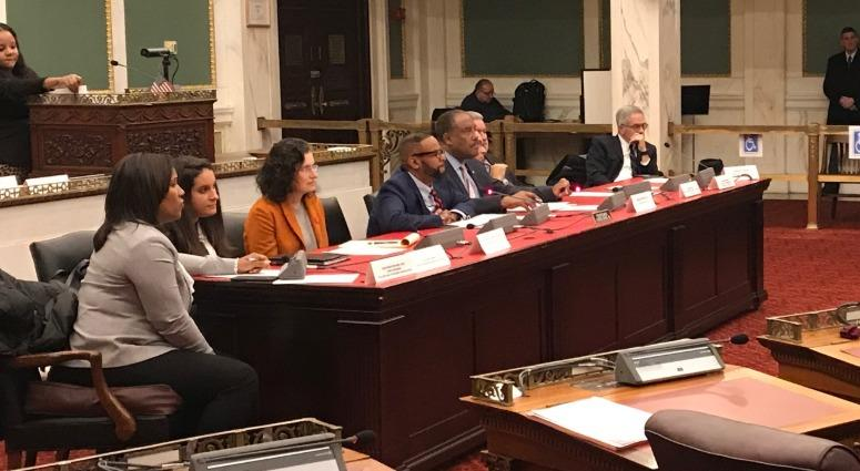 City officials listen to testimony during a hearing Monday on participatory defense, an innovative approach to reform that makes the community part of the justice system.