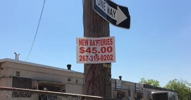 """For the first time, Philadelphia is offering a bounty to help rid the streets of so-called """"bandit signs."""""""