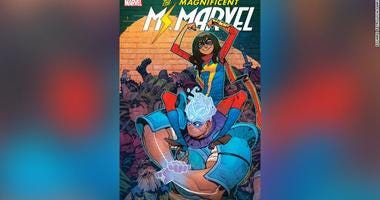 Amulet, seen here with Ms. Marvel on his shoulders, is Marvel's newest superhero -- and one of the few Arab-American superheroes in comics. He'll make his official debut in March.