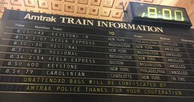 Information board at 30th Street Station