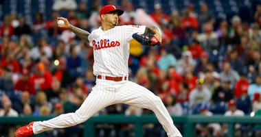 Philadelphia Phillies' Vince Velasquez pitches during the third inning of a baseball game against the Atlanta Braves.