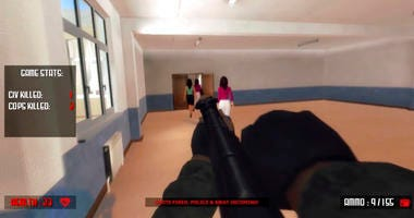 """This file screen shot taken from YouTube shows a still frame from the video game """"Active Shooter."""""""