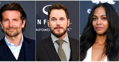 """This combination photo shows """"Guardians of the Galaxy"""" actors, from left, Bradley Cooper, Chris Pratt and Zoe Saldana, who, along with six other main cast members, have issued an open letter in support of ousted director James Gunn."""