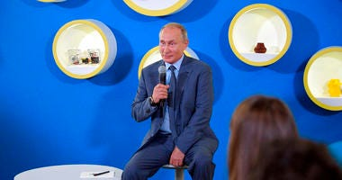 "Russian President Vladimir Putin speaks as he meets with the students while visiting the Sirius Educational Centre for Gifted Children during the traditional opening of the school year known as the ""Day of Knowledge"" in Sochi, Sept. 1, 2018."