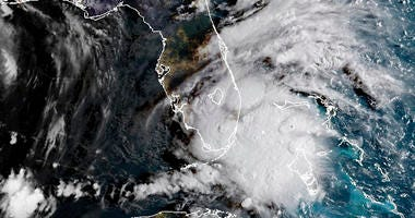 In this image released by NOAA's GOES-16 on Monday, Sept. 3, 2018, Tropical Storm Gordon appears south of Florida. The storm is expected to cross from southwest Florida into the Gulf Coast later Monday afternoon.