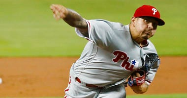Philadelphia Phillies starting pitcher Vince Velasquez delivers during the first inning of a baseball game against the Miami Marlins, Monday, Sept. 3, 2018, in Miami.