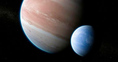 Exoplanet Kepler-1625b with a hypothesized moon.