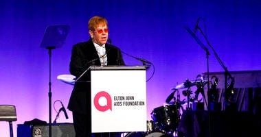"Elton John speaks at the Elton John AIDS Foundation's 17th annual ""An Enduring Vision"" benefit gala at Cipriani 42nd Street on Monday, Nov. 5, 2018, in New York."