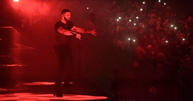 Drake performs at the Staples Center in Los Angeles.