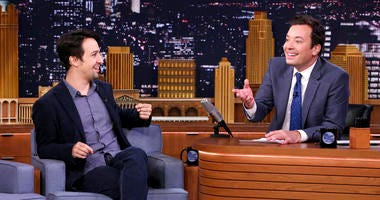 "Lin-Manuel Miranda and Jimmy Fallon on ""The Tonight Show Starring Jimmy Fallon."""