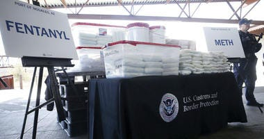 A display of the fentanyl and meth that was seized by Customs and Border Protection officers over the weekend at the Nogales Port of Entry is shown during a press conference on Thursday, Jan. 31, 2019, in Nogales, Ariz.