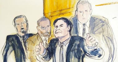 "In this courtroom drawing, Joaquin ""El Chapo"" Guzman, second from right, accompanied by US Marshalls, gestures a ""thumbs up"" to his wife, Emma Coronel Aispuro, as he leaves the courtroom, Tuesday, Feb. 12, 2019, in New York."