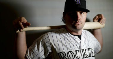 Colorado Rockies second baseman Daniel Murphy poses for a picture at their spring baseball training facility in Scottsdale, Ariz., Wednesday, Feb. 20, 2019.