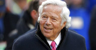 FILE - In this Jan. 20, 2019, file photo, New England Patriots owner Robert Kraft walks on the field before the AFC Championship NFL football game between the Kansas City Chiefs and the New England Patriots, in Kansas City, Mo.