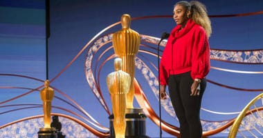 Serena Williams appears during rehearsals for the 91st Academy Awards in Los Angeles on Saturday, Feb. 23, 2019.