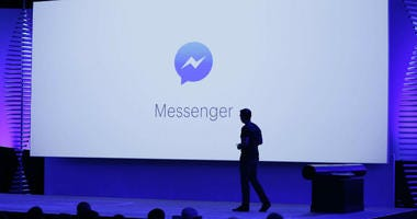FILE - In this April 12, 2016, file photo, new features of Messenger are displayed during the keynote address at the F8 Facebook Developer Conference in San Francisco.