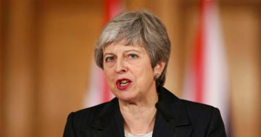 Britain's Prime Minister Theresa May delivers a statement in London on March 20, 2019