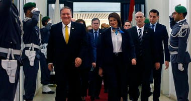 Lebanon's Interior Minister Raya El Hassan, right, with U.S. Secretary of State Mike Pompeo