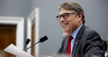 Energy Secretary Rick Perry testifies during a House Appropriations subcommittee hearing on budget on Capitol Hill in Washington.