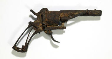 This photo provided by AuctionArt/Drouot on Wednesday April 3, 2019 shows the revolver it's believed was used by Dutch painter Vincent van Gogh to take his own life.