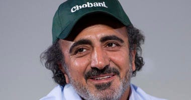 In this Jan. 16, 2018 file photo, Hamdi Ulukaya, founder, chairman and CEO of Chobani, speaks at the National Retail Federation conference in New York.