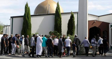 Worshippers enter the Al Noor mosque following the mass shooting in Christchurch, New Zealand.