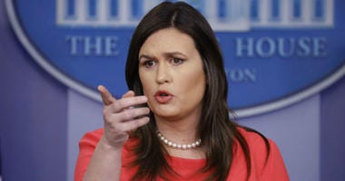 FILE - In this Jan. 28, 2019, file photo, White House press secretary Sarah Sanders speaks during a press briefing at the White House in Washington. President Donald Trump says Sanders is leaving her job as press secretary at the end of June.