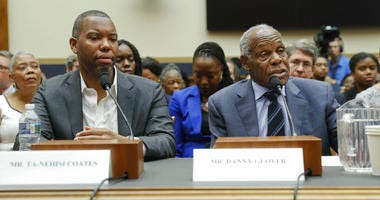 Actor Danny Glover, right, and author Ta-Nehisi Coates, left, testify about reparation for the descendants of slaves during a hearing before the House Judiciary Subcommittee on the Constitution, Civil Rights and Civil Liberties, at the Capitol in Washingt