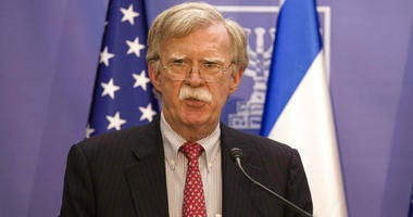 U.S. National Security Advisor John Bolton gives statements to media in Jerusalem, Sunday, June 23, 2019.