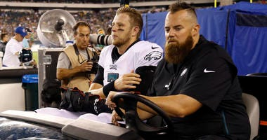 Philadelphia Eagles' Nate Sudfeld is driven off the field after an injury during the first half of the team's preseason NFL football game against the Tennessee Titans, Thursday, Aug. 8, 2019, in Philadelphia.