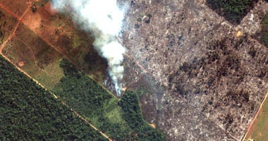 This Aug. 15, 2019 satellite image from Maxar Technologies shows closeup view of a fire southwest of Porto Velho Brazil. Brazil's National Institute for Space Research, a federal agency monitoring deforestation and wildfires, said the country has seen a r