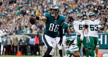 Philadelphia Eagles' Zach Ertz reacts after scoring a touchdown during the first half of an NFL football game against the New York Jets, Sunday, Oct. 6, 2019, in Philadelphia.
