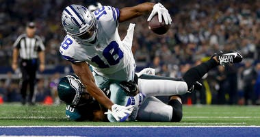 Dallas Cowboys wide receiver Randall Cobb (18) is stopped shy of the end zone after catching a pass by Philadelphia Eagles running back Boston Scott (38) in the first half of an NFL football game in Arlington, Texas, Sunday, Oct. 20, 2019.