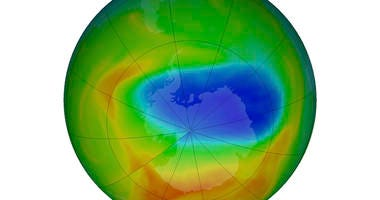 This image made available by NASA shows a map of a hole in the ozone layer over Antarctica on Sunday, Oct. 20, 2019.