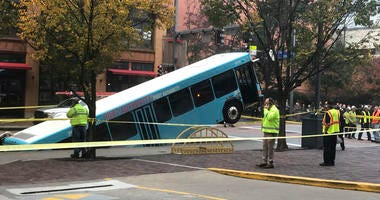 Commuter bus sinkhole