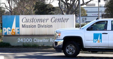 a Pacific Gas & Electric truck enters their customer center in Hayward, Calif.