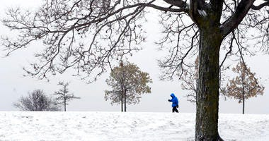 A lone hiker navigates the 31st street beach bike trail in a stiff wind and blowing snow off Lake Michigan.