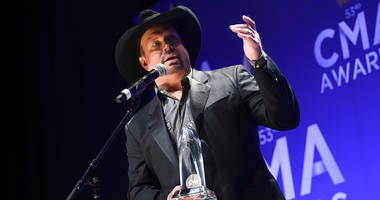 Singer-songwriter Garth Brooks speaks in the press room after winning the entertainer of the year award at the 53rd annual CMA Awards at Bridgestone Arena on Wednesday, Nov. 13, 2019, in Nashville, Tenn.