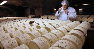 Bernard Roques, a refiner of Societe company, smells a Roquefort cheese as they mature in a cellar in Roquefort, southwestern France, Jan. 21, 2009.