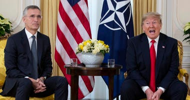 U.S. President Donald Trump speaks during a meeting with NATO Secretary General, Jens Stoltenberg at Winfield House in London, Tuesday, Dec. 3, 2019.