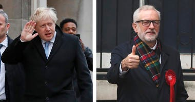 Conservative Party leader Boris Johnson and Labour Party leader Jeremy Corbyn, leaders of Britain's two main political parties, vote at their polling stations Thursday, Dec. 12, 2019.