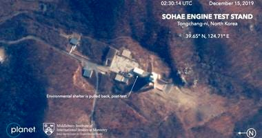 This Dec. 15, 2019, satellite image from Planet Lab Inc., that has been analyzed by experts at the Middlebury Institute of International Studies, shows the Sohae Engine Test Stand in Tongchang-ri, North Korea.