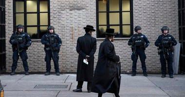 Orthodox Jewish men at a Brooklyn synagogue