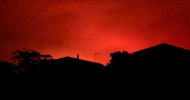 Red sky from wildfires burning, in Victoria, Australia, on Dec. 31, 2019.