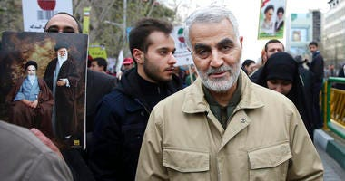 Qassem Soleimani, commander of Iran's Quds Force, attends an annual rally commemorating the anniversary of the 1979 Islamic revolution, in Tehran, Iran.