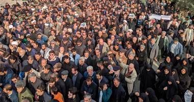 Protesters demonstrate over the U.S. airstrike in Iraq that killed Iranian Revolutionary Guard Gen. Qassem Soleimani in Tehran, Iran, Jan. 3, 2020.